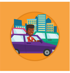 Angry african man in car stuck in traffic jam vector
