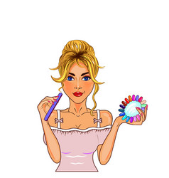 Art girl nail master vector