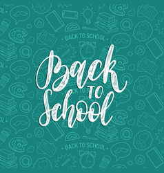 back to school hand lettering seamless vector image