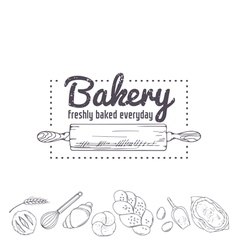 Bakery logo template Hand drawn rolling pin and vector image