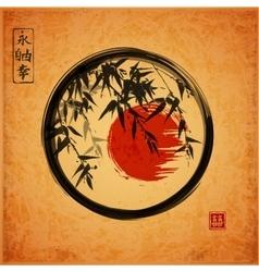 Bamboo trees in black enso zen circle vector image