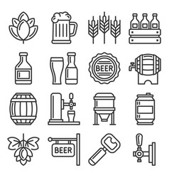 beer and alcohol industry icons set on white vector image