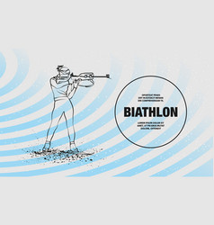 Biathlon girl shooting in stand position vector