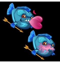 Blue fish with gold arrows and pink bubble gum vector