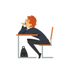 Bored student sitting and yawning at desk in vector