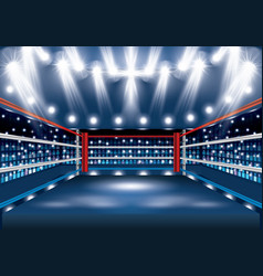 Boxing ring with spotlights vector