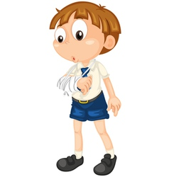 boy with fractured hand vector image