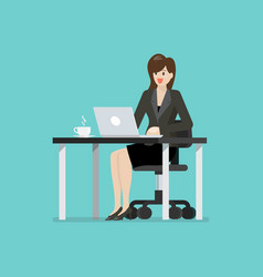 business woman working on a laptop computer vector image