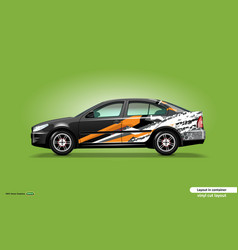 Car decal wrap design with abstract orange stripe vector