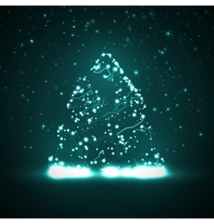 Circuit board background christmas tree vector