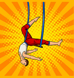 Circus acrobat on trapeze pop art vector