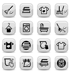 cleaning and washing icons set vector image