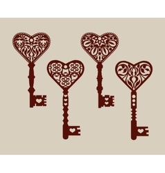 Collection of templates of decorative keys vector image