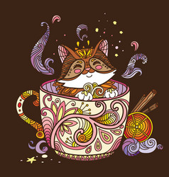colorful kawaii cute cat in a cup vector image