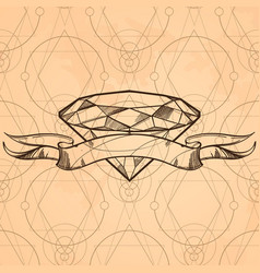 Contour image of diamond and ribbon sketch style vector