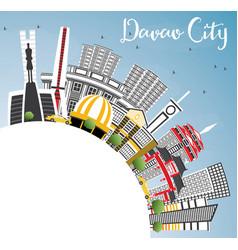 Davao city philippines skyline with gray vector