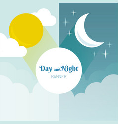 Day and night layout sun moon stars and clouds vector