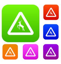 Deer traffic warning sign set collection vector