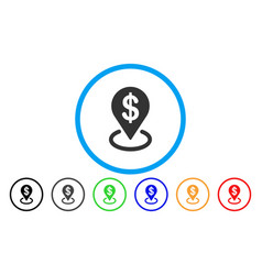 Dollar placement rounded icon vector