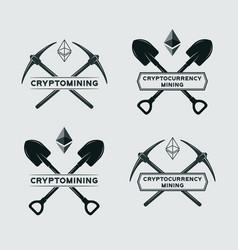 ethereum mining symbol vector image
