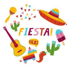 fiesta banner lettering design vector image