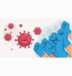 Fight covid-19 coronavirus concept group of vector