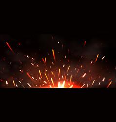 Fire sparks metal welding fire burning vector
