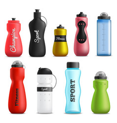 Fitness drink bottles realistic set vector