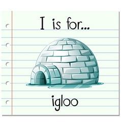 Flashcard alphabet I is for igloo vector