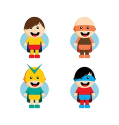 Flat style superhero character avatar on ribbon vector