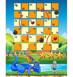 Game template with knight and dragon vector