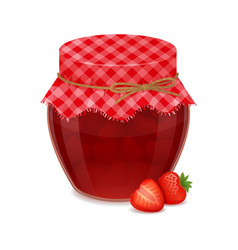 Glass jar with tasty strawberry jam realistic vector