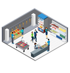 Grocery store isometric interior vector