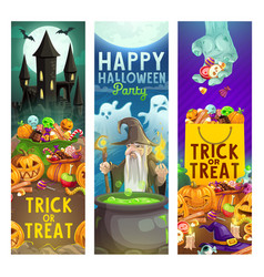 halloween pumpkins with sweets ghosts and zombie vector image