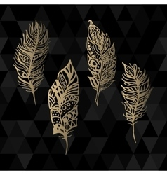 Hand drawn zentangle gold feathers set on vector