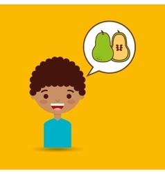 Happy boy with delicious orange fruit design vector