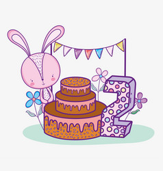 happy rabbit birthday two years with cake vector image