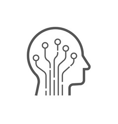 Head human smart technology logo brain vector