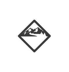 High mountain icon logo adventure template vector