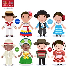 Kids in different traditional costumes Colombia vector