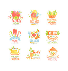 Kids menu logo design set healthy organic food vector