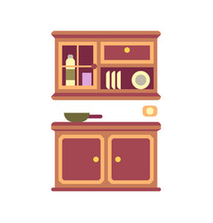 Kitchen cabinet flat icon vector