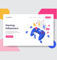 Landing page template of gaming influencers vector