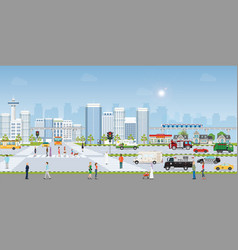 Landscape city with large modern buildings and vector
