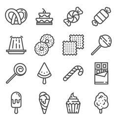 line sweets and candy icon set vector image