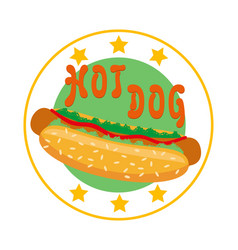 logo hot dog for fast food vector image