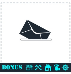 Mail box icon flat vector