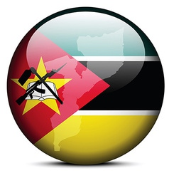 Map on flag button of Republic Mozambique vector image