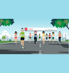 marathon run vector image