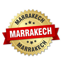 Marrakech round golden badge with red ribbon vector